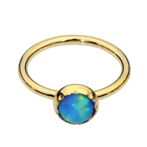 14K Yellow/Rose Gold Filled Belly Button Ring / Belly Button Piercing with a 3mm Blue Opal