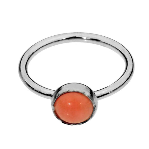 Sterling silver nose ring/tragus earring hoop set with a 3mm Pink Coral.