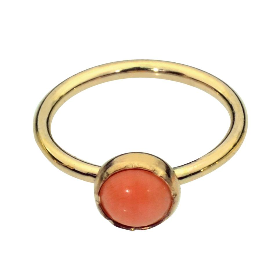 14K yellow/rose gold filled nose ring/tragus earring hoop set with a 3mm Pink Coral.