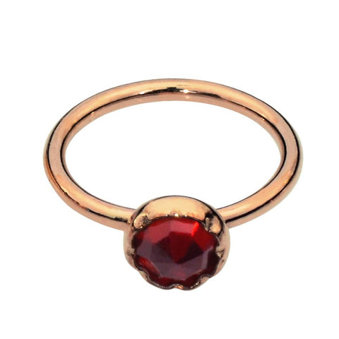 Nose Ring / Tragus Earring - 14K Yellow/Rose Gold Filled - 3mm Garnet