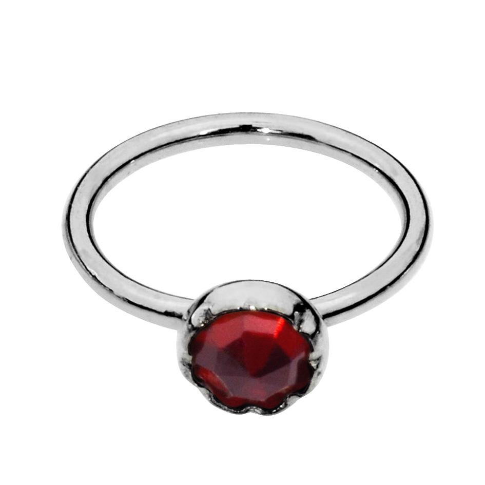 Sterling silver nose ring/tragus earring hoop set with a 3mm Garnet.