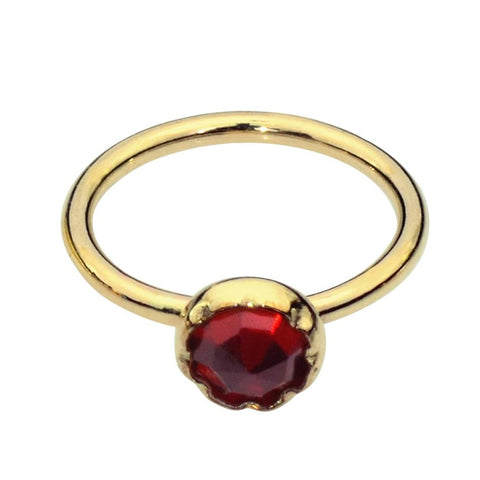 14K solid yellow/rose/white gold nose ring/tragus earring hoop set with a 3mm Garnet.