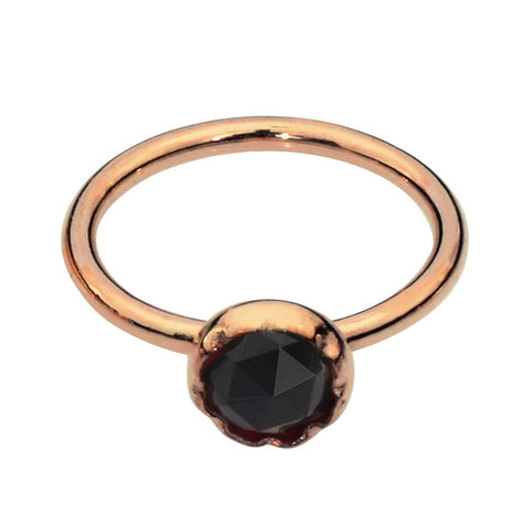 Nose Ring / Tragus Earring - 14K Yellow/Rose Gold Filled - 3mm Black Onyx