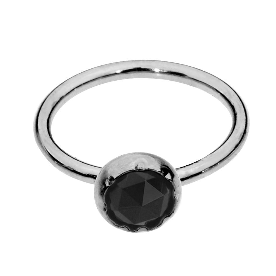 Sterling silver nose ring/tragus earring hoop set with a 3mm Black Onyx.