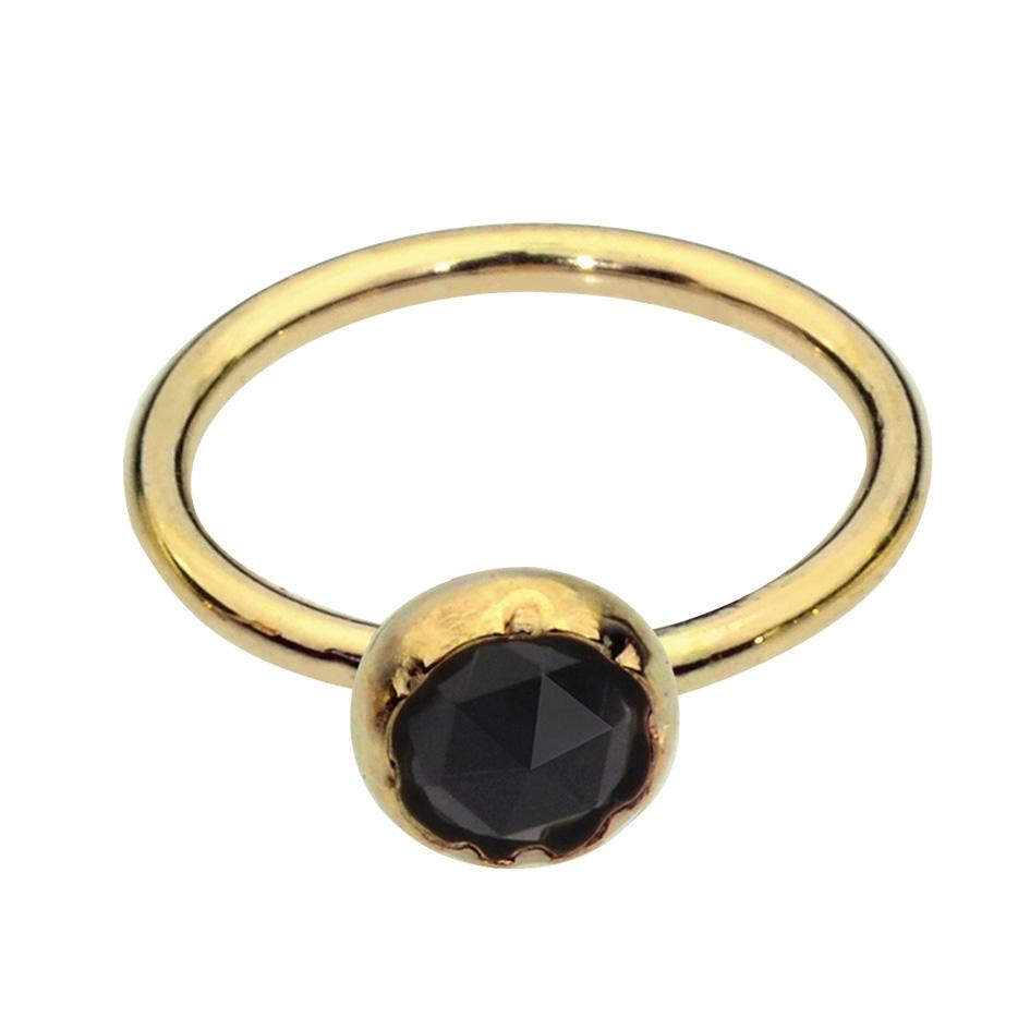 14K solid yellow/rose/white gold nose ring/tragus earring hoop set with a 3mm Black Onyx.