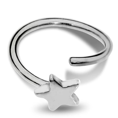 Nose Ring / Tragus Earring - Sterling Silver - Star