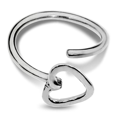 Nose Ring / Tragus Earring - Sterling Silver - Open Valentine Heart