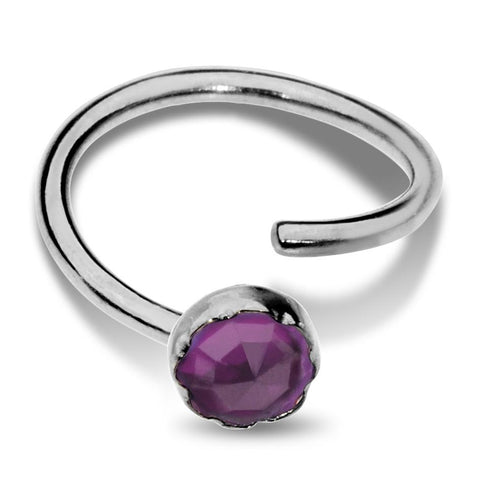 Nose Ring / Tragus Earring - Sterling Silver - 3mm Amethyst