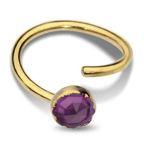 Belly Button Ring / Belly Piercing 14K Solid Gold - 3mm Amethyst