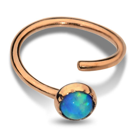 Nose Ring / Tragus Earring - 14K Solid Yellow/Rose/White Gold - 3mm Blue Opal
