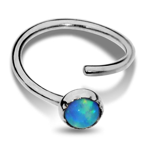 Nose Ring / Tragus Earring - Sterling Silver - 3mm Blue Opal
