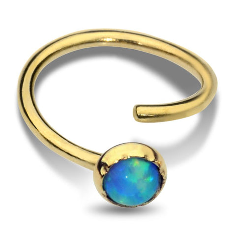 Nose Ring / Tragus Earring - 14K Yellow/Rose Gold Filled - 3mm Blue Opal