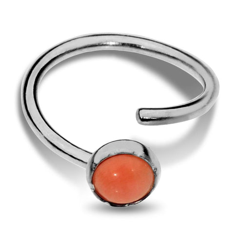 Nose Ring / Tragus Earring - Sterling Silver - 3mm Pink Coral