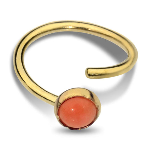 Belly Button Ring / Belly Piercing 14K Gold Filled - 3mm Pink Coral