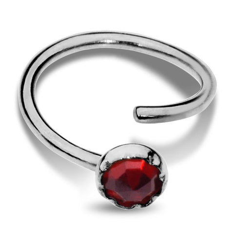 Nose Ring / Tragus Earring - Sterling Silver - 3mm Garnet