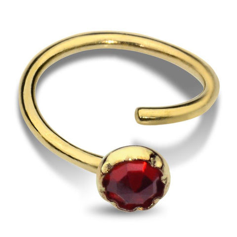 Nose Ring / Tragus Earring - 14K Solid Yellow/Rose/White Gold - 3mm Garnet