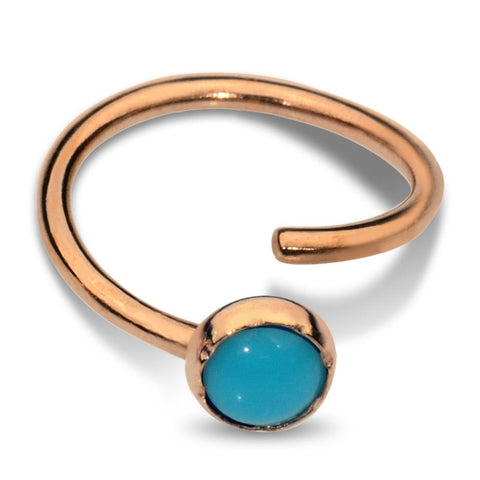Nose Ring / Tragus Earring - 14K Yellow/Rose Gold Filled - 3mm Turquoise