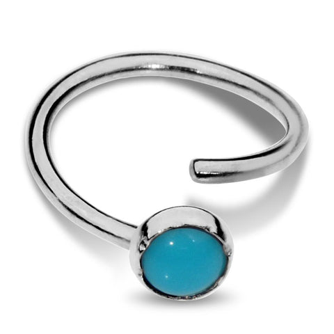 Nose Ring / Tragus Earring - Sterling Silver - 3mm Turquoise