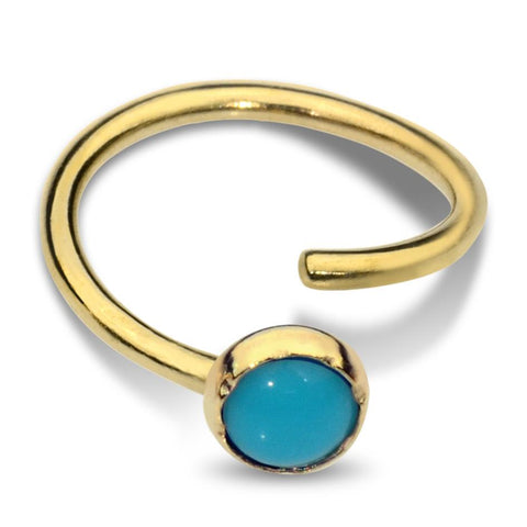 Belly Button Ring / Belly Piercing 14K Solid Gold - 3mm Turquoise