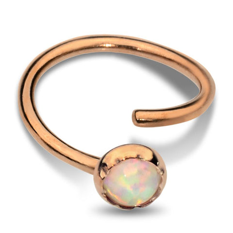 Nose Ring / Tragus Earring - 14K Yellow/Rose Gold Filled - 3mm White Opal