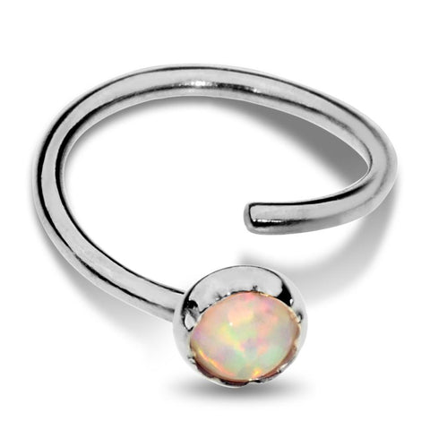 Nose Ring / Tragus Earring - Sterling Silver - 3mm White Opal