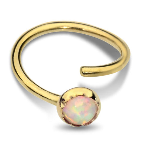 Belly Button Ring / Belly Piercing 14K Solid Gold - 3mm White Opal
