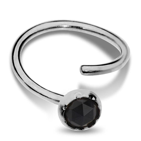 Nose Ring / Tragus Earring - Sterling Silver - 3mm Black Onyx
