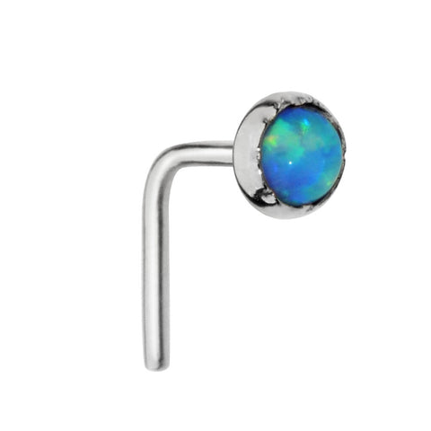Nose Ring / Nose Stud - 14K solid Yellow/Rose/White Gold - 3mm Blue Opal