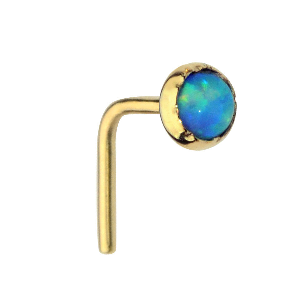 14K Solid Yellow/Rose/White Gold nose ring stud set with a 3mm Blue Opal.