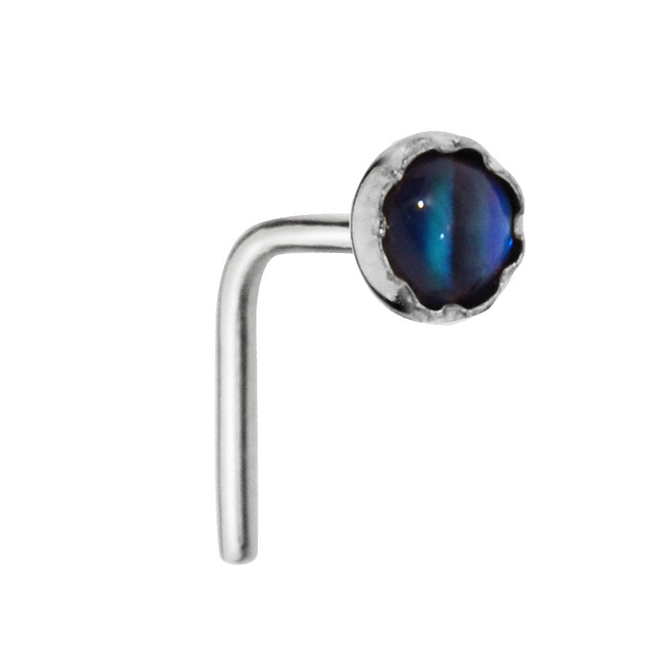 Sterling silver nose ring stud set with a 3mm Abalone Shell Paua Shell.
