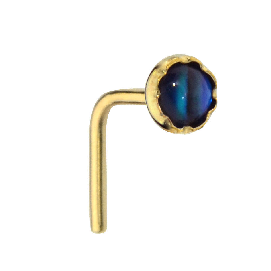 14K Solid Yellow/Rose/White Gold nose ring stud set with a 3mm Abalone Shell.