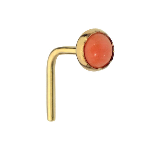 14K Solid Yellow/Rose/White Gold nose ring stud set with a 3mm Pink Coral.