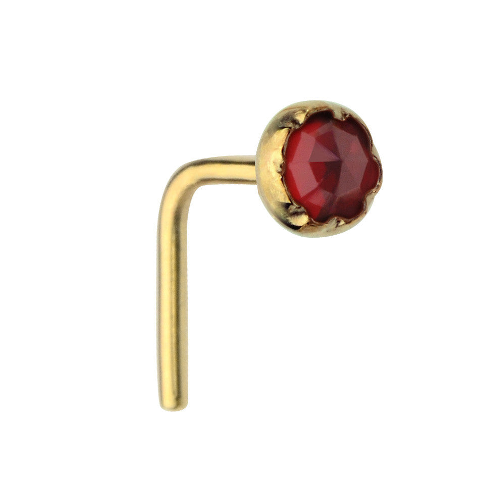 14K Solid Yellow/Rose/White Gold nose ring stud set with a 3mm Garnet.