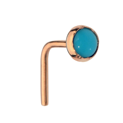 Nose Ring / Nose Stud - 14K solid Yellow/Rose/White Gold - 3mm Turquoise