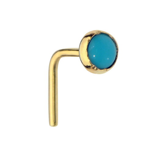 14K Solid Yellow/Rose/White Gold nose ring stud set with a 3mm Turquoise.