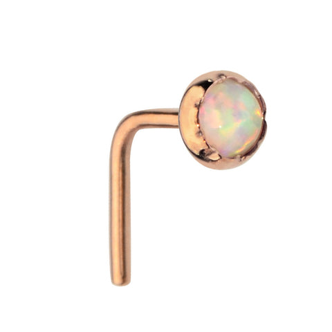 Nose Ring / Nose Stud - 14K Yellow/Rose Gold Filled - 3mm White Opal