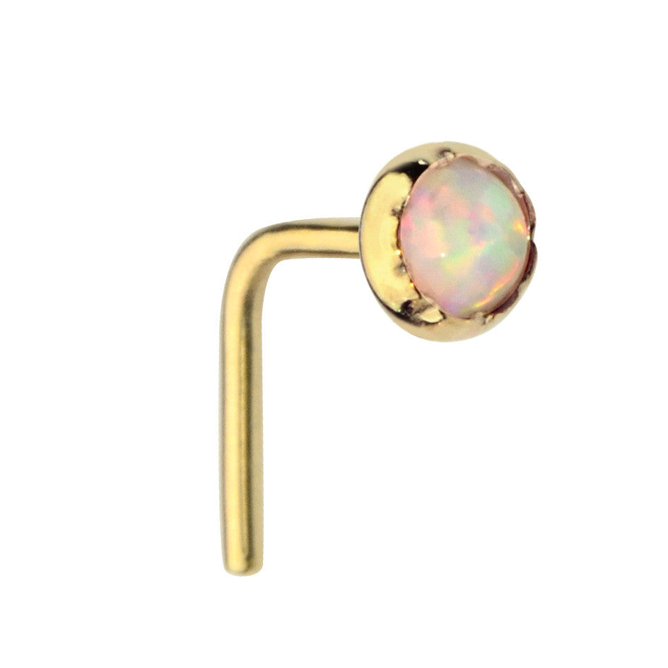 14K Yellow/Rose Gold Filled nose ring stud set with a 3mm White Opal.