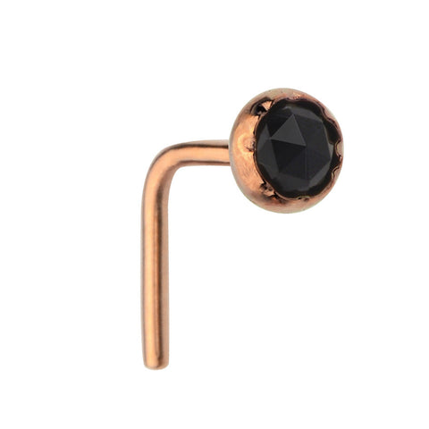 Nose Ring / Nose Stud - 14K solid Yellow/Rose/White Gold - 3mm Black Onyx