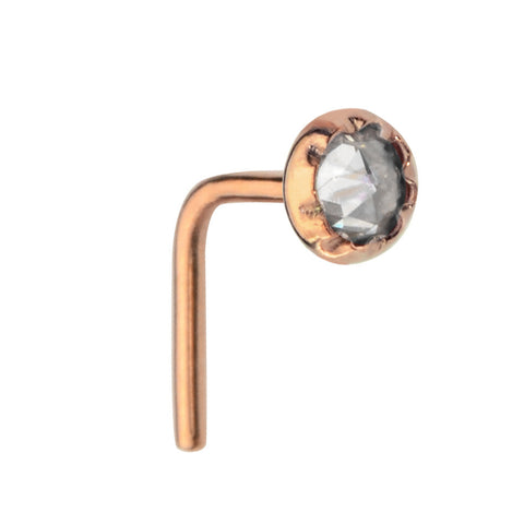 Nose Ring / Nose Stud - 14K Yellow/Rose Gold Filled - 3mm Cubic Zirconia
