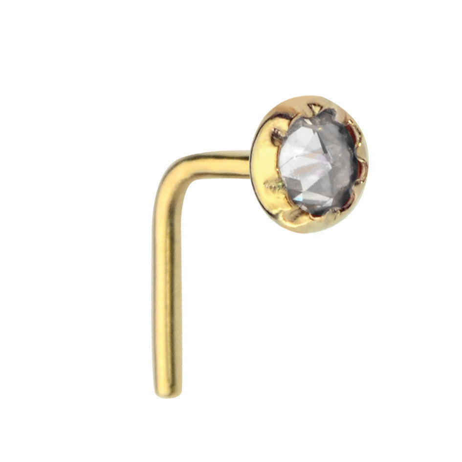 14K Yellow/Rose Gold Filled nose ring stud set with a 3mm Cubic Zirconia.