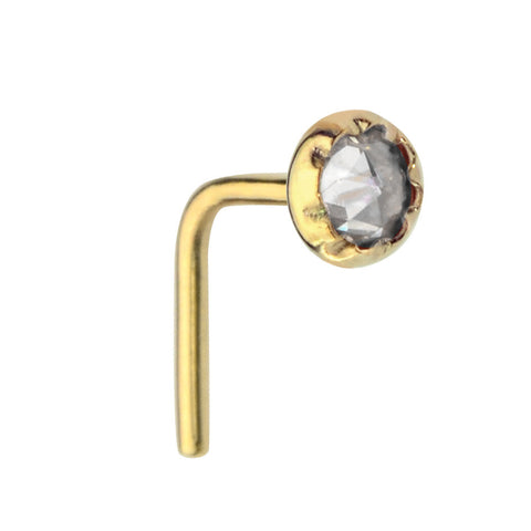 14K Solid Yellow/Rose/White Gold nose ring stud set with a 3mm Cubic Zirconia.
