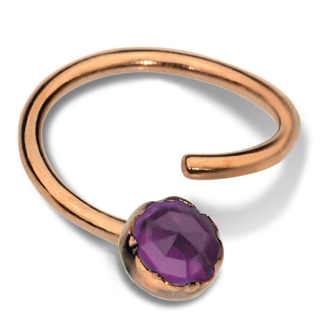 Septum Ring - Conch Ring - Nipple Ring 14K Gold Filled - 3mm Amethyst