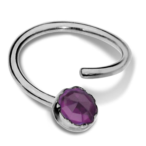 Septum Ring - Conch Ring - Nipple Ring Sterling Silver - 3mm Amethyst