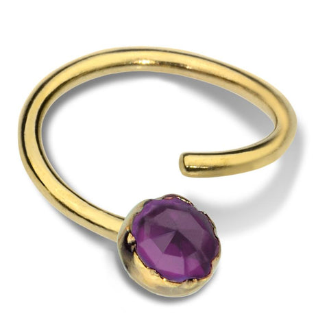 Septum Ring - Conch Ring - Nipple Ring 14K Solid Gold - 3mm Amethyst