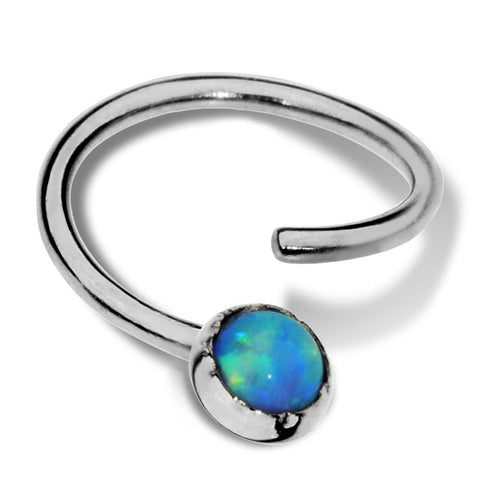 Septum Ring - Conch Ring - Nipple Ring Sterling Silver - 3mm Blue Opal