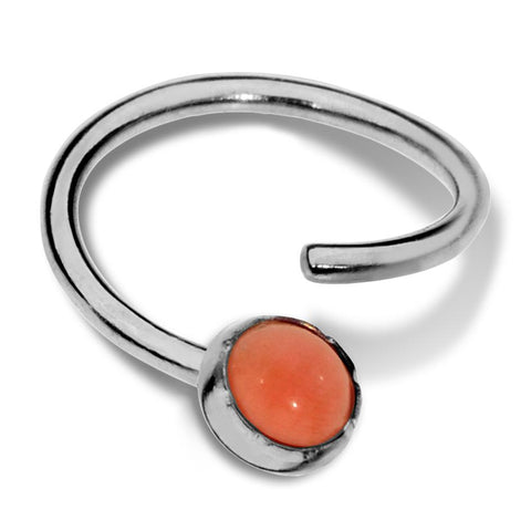 Septum Ring - Conch Ring - Nipple Ring Sterling Silver - 3mm Pink Coral