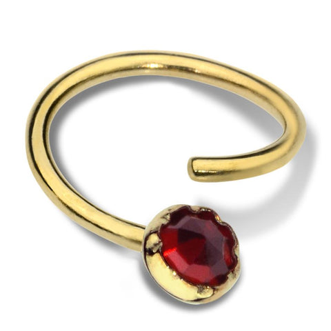 Septum Ring - Conch Ring - Nipple Ring 14K Solid Gold - 3mm Garnet