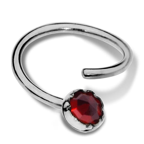 Septum Ring - Conch Ring - Nipple Ring Sterling Silver - 3mm Garnet