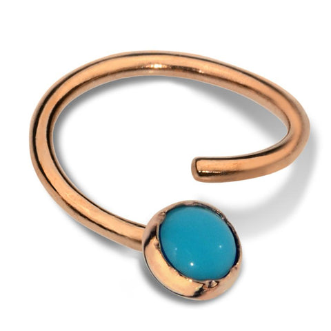 Septum Ring - Conch Ring - Nipple Ring 14K Solid Gold - 3mm Turquoise