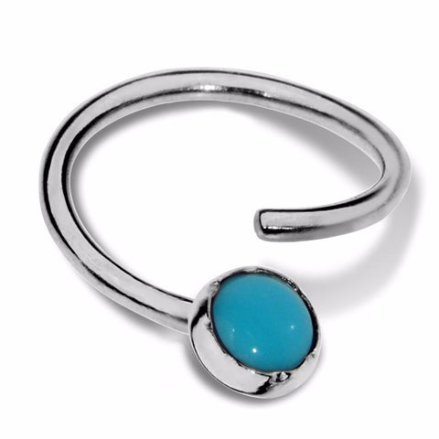 Septum Ring - Conch Ring - Nipple Ring Sterling Silver - 3mm Turquoise